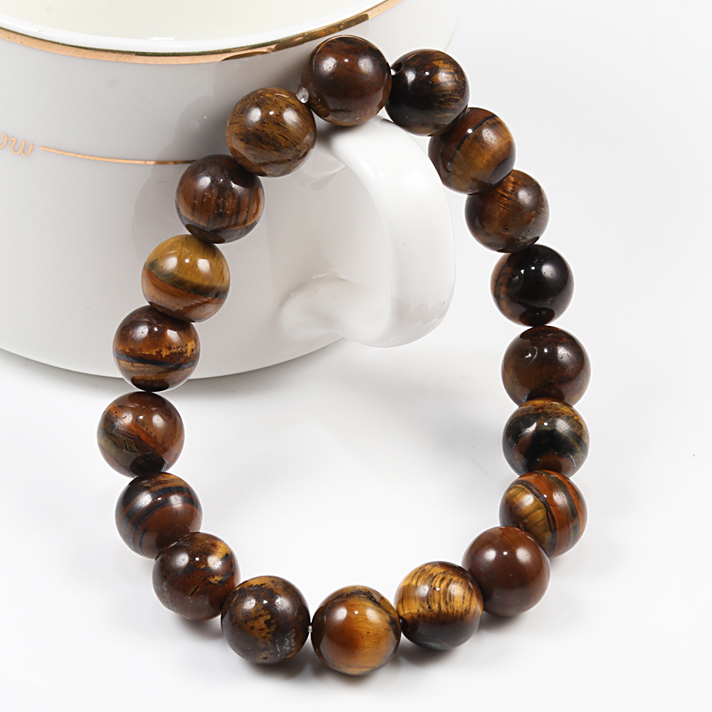 Image 5 - 6/8/10 mm Tiger Eye Natural Beaded Bracelet Prayer Female  Pulseira bracelsts