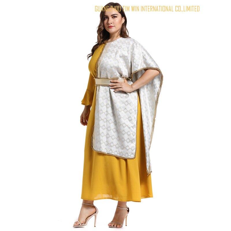 Vestidos женское платье большого размера желтое платье трапециевидной формы с круглым вырезом лоскутное кимоно рукав Модное платье Бандажное платье 2019 Toleen бренд - 4