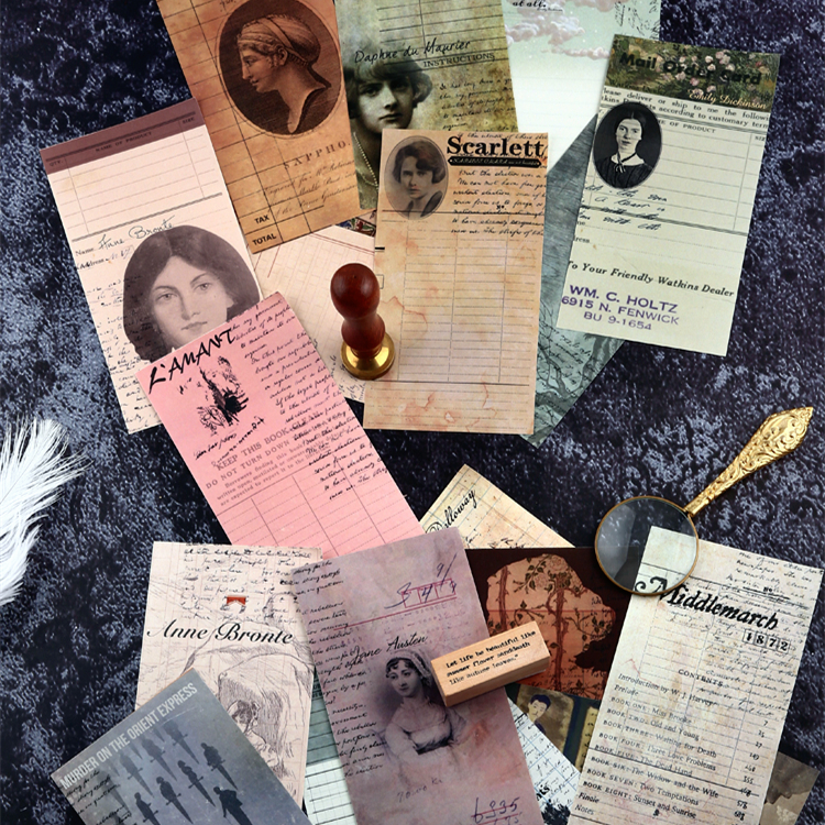 24 Pcs/set Vintage Memo Pad Writer Manuscript Series Non-adhesive Tearable DIY Material Decoration Paper Writing Paper Memo Pad
