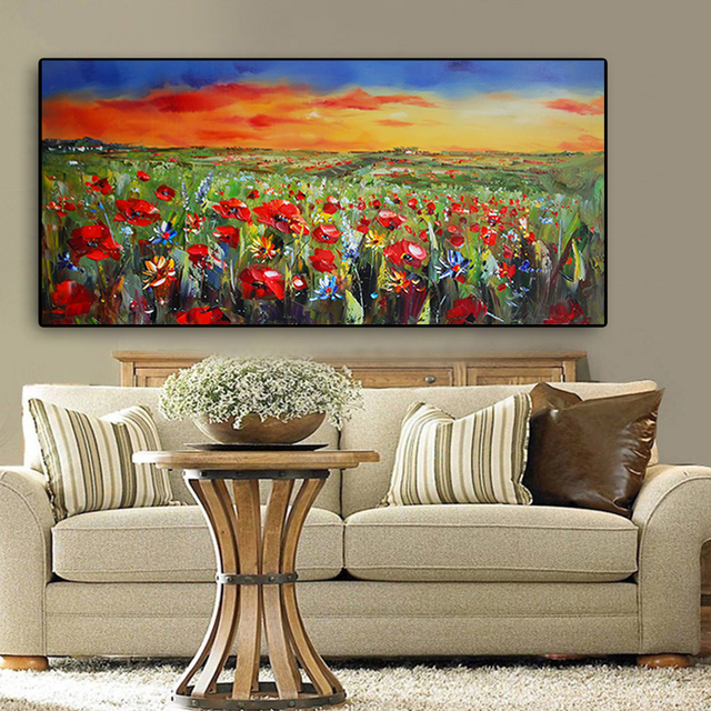 Wild Flowers Poppies Landscape Oil Painting Printed on Canvas 5