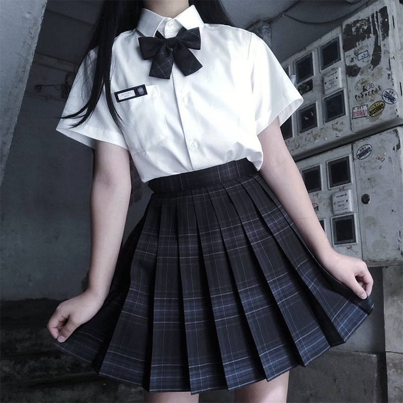 2020 Summer Korean High Waist Pleated Skirts Black Gothic Sexy Cute Mini Plaid Skirt Women JK Uniform Students Clothes Y2K 90S 3