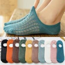 10 peças = 5 pares/lote invisível algodão doce respirável meias para mulheres verão meninas casual curto tornozelo barco baixo corte lady sox
