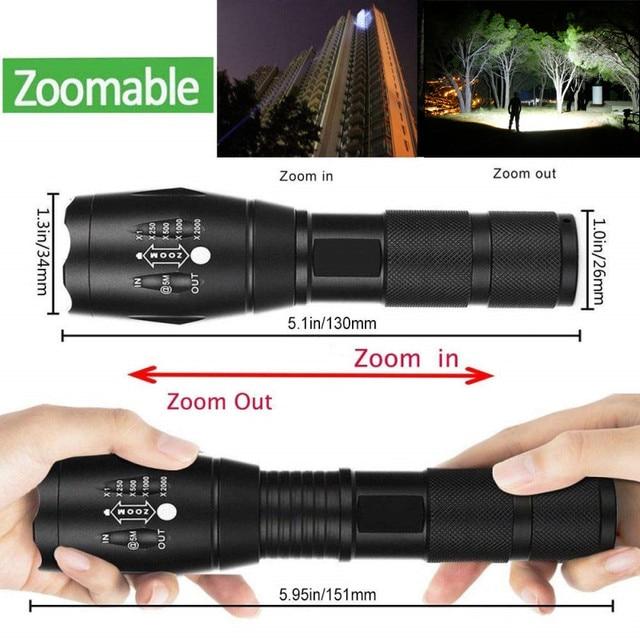 Lanterna led mais poderosa, ultraclara t6/l2/v6, para bicicleta, com zoom, pilha aaa 18650 bateria à prova d'água 2
