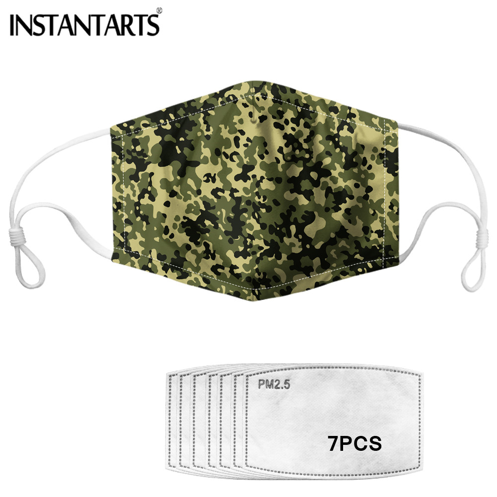INSTANTARTS Army Green Camouflage Camouflage Printed  Men Cool Mouth Cover Mask 7pcs PM2.5 Adsorption Filter Anti Air Dust Mask