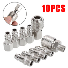 цена на 10pcs 1/4Air Line Fitting BSP Euro Air Line Fitting Hose Compressor Quick Release Connector Fasteren Pneumatic Tool Accessories