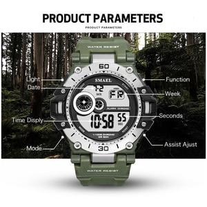 Image 4 - SMAEL cyfrowy zegarek moda męska Sport zegarki wodoodporny 5Bar chronograf zegar analogowy zegarek z alarmem reloj hombre 1548