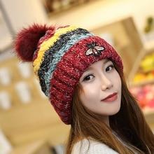 Fashion Embroidery Bee Animal Beanie Hats Women Winter Warm Knitting Pom Pom Hat Gorros