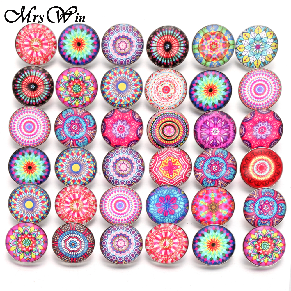 10pcs/lot New Glass Snap Jewelry Mixed Beautiful Cotton Flower Exotic Pattern Glass 18mm Snap Buttons for DIY Snap Bracelet