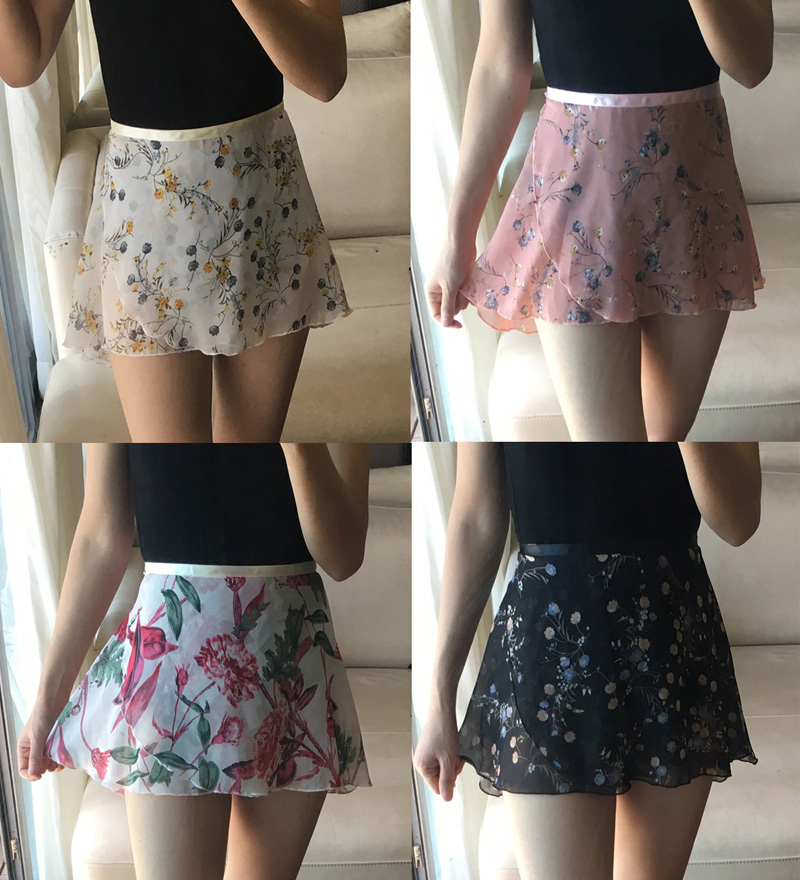 Ballet Dance Skirt 2020 New Style Adult Children Chiffon Flower Practice Leotard Tutu Women Floral Print Ballet Dancing Dress