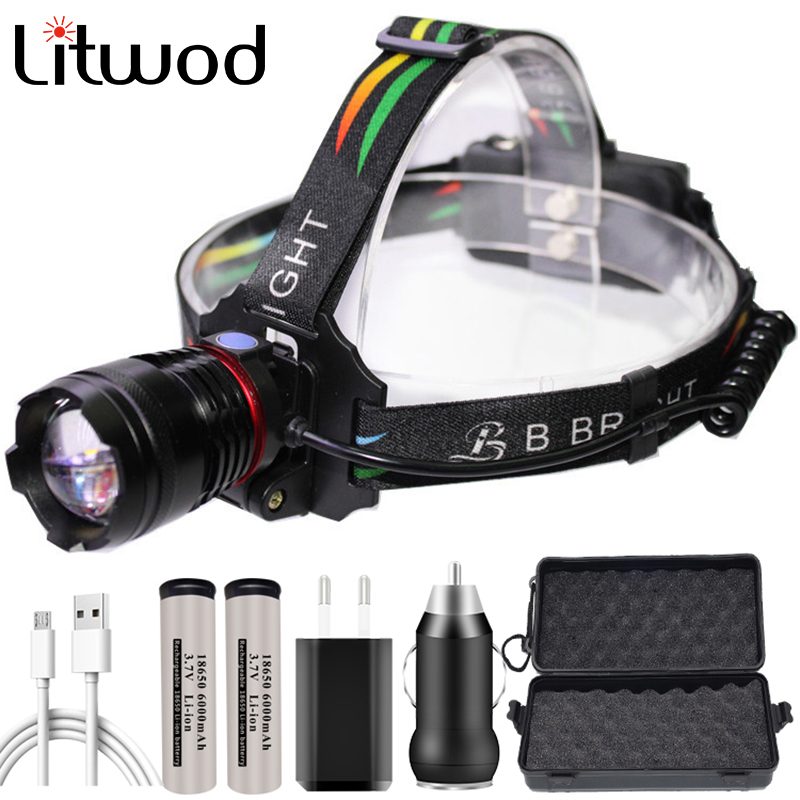 Xhp70 Powerful Headlamp Head Lamp Flashlight Headlight 32w 4291lm Led Bulbs 2* 18650 Battery Zoom In / Out Lithium Ion