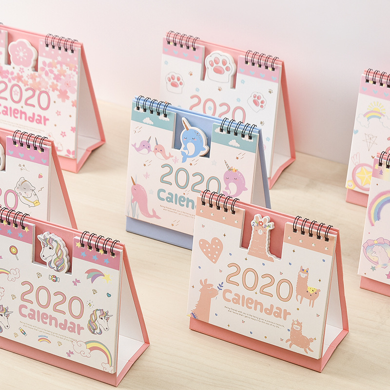 Creative 2020 Fresh Cartoon Hamster Mini Cute Desktop Paper Calendar Dual Daily Scheduler Table Planner Yearly Agenda Organizer