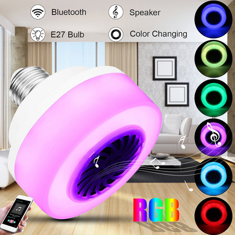 E27 Smart RGB Bulb Bluetooth Audio Speakers Lamp Dimmable LED Wireless Music Bulb Light Color Changing Remote Control Light
