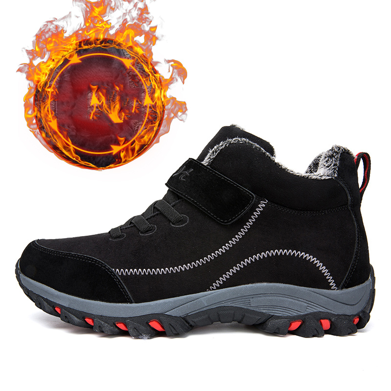 Waterproof Winter Men Boots with Fur Warm Snow Women Boots Men Work Casual Shoes Sneakers High Top Rubber Ankle Boots plus size 6