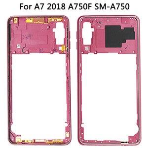 Image 4 - لسامسونج غالاكسي A7 2018 A750 عودة غطاء البطارية الإطار الأوسط سيم بطاقة استبدال جديد A750 كامل مقصورة البطارية المنزلية