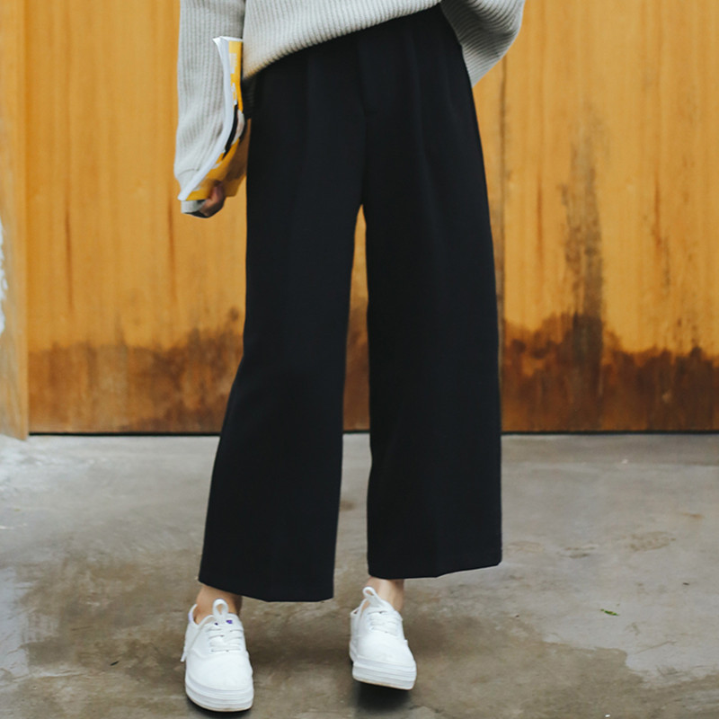 Wide     Leg     Pants   Ulzzang Women Solid High Waist Trousers Pleated Loose Casual Elegant Womens Korean Style Chic School Daily Girls