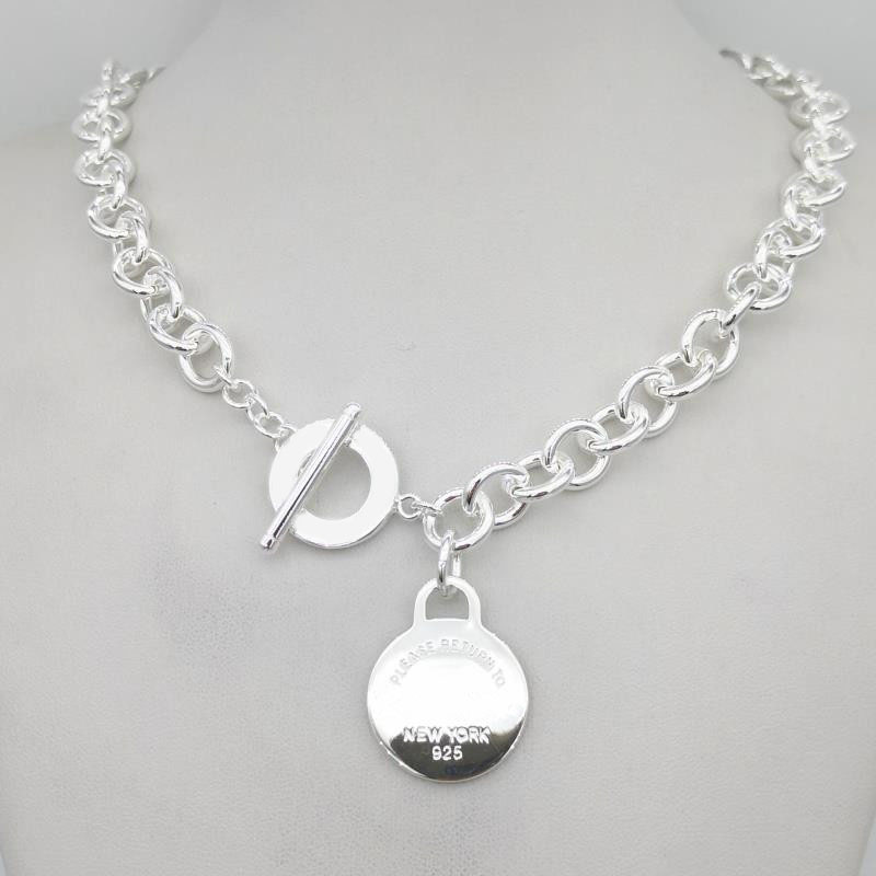 Sterling Silver 925 Classic Pop Fashion Silver Round Tag Pendant Girl Necklace Jewelry Holiday Gift