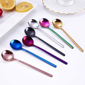 Coffee Spoons Teaspoon-Accessories Dessert-Ice-Cream Fruit Milk Candy Round-Shape Stainless-Steel