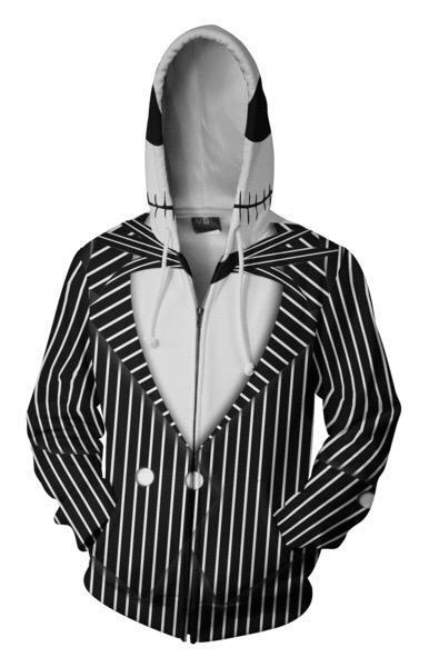 ZOOTOP BEAR 2020 Hooded Men Jack Skellington 3D Printed Hoodies Casual Workout Casual zipper hoodie hip hop hooded tops Dropship