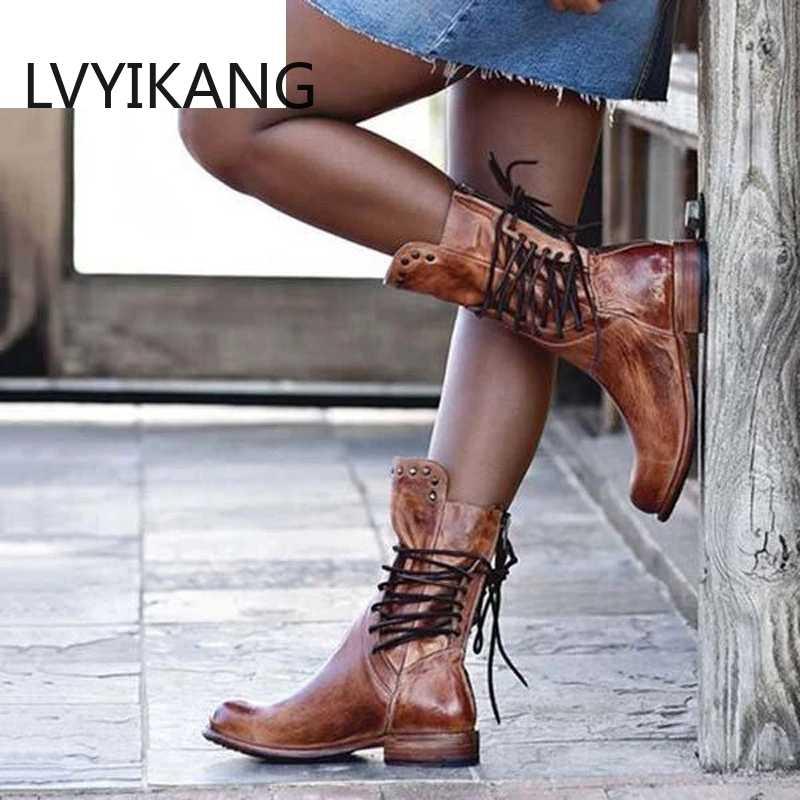 Yeni sonbahar kadın çizmeler Retro kadın ayakkabısı bloğu motosiklet patik artı boyutu ayakkabı deri ayakkabı düşük topuk orta buzağı çizmeler 2019