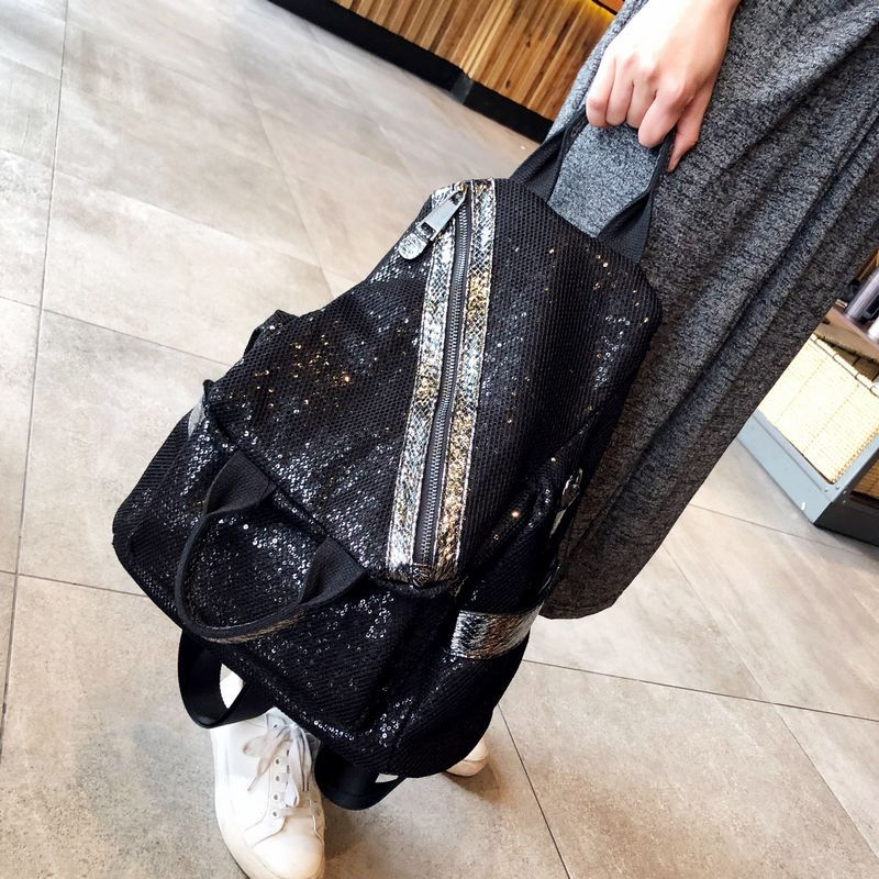 Mesh Netting Iridescent Paillette Backpack Women Fashion Sparkle Shiny Daily School Bag 2020 Female Casual Stylish Knapsack
