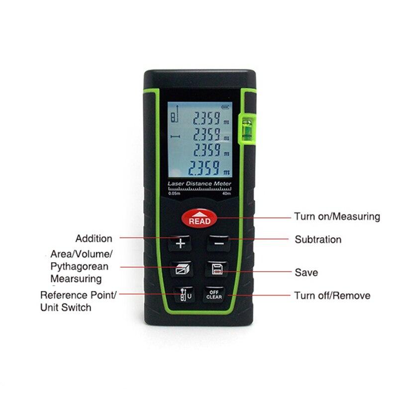 SNDWAY SW-T40 40M Mini Laser-entfernungsmesser 100M Digitale Laser Abstand Meter mit Seil Laser Palette Messung Werkzeug