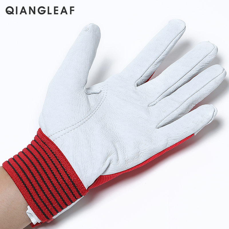 Image 3 - QIANGLEAF Brand Red Products Mechanic Work Gloves Leather Welding Coat Heavy Industrial Glove Safety Sport Glove 5163-in Safety Gloves from Security & Protection