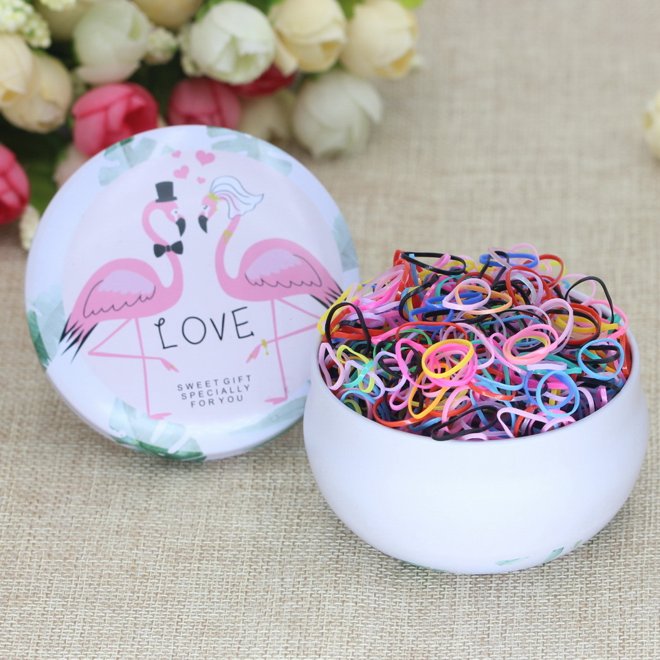 Isnice 1000pcs Flower Headband Candy Colored Rubber Bands Apron Tie Strong Pull Constantly Bagged Small Hair Band