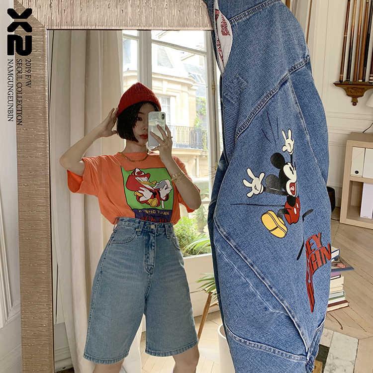 high quality fashion korea clothing female jacket denim coat women outwear long sleeve loose cartoon jeans cowboy coat in winter