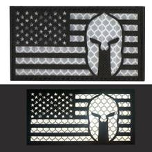 American National Flag Reflective Fabric Patch Magic Stickers Badge Decoration Arts Crafts Sewing Accessories(China)