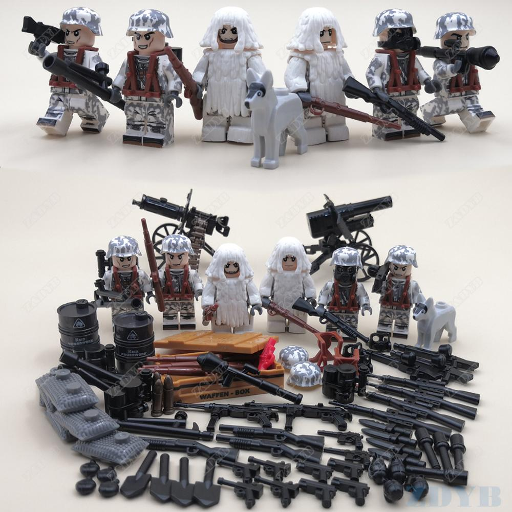 WW2 Battle Of Alps Winter Mini Soldier Locking Military Figure Set Army Weapon Gun Model Building Block Brick Children Kids  Toy