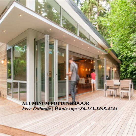 Exterior Strong Double Glazing Aluminum Bi Folding Door,Australia Standard For Hotel Villa Project
