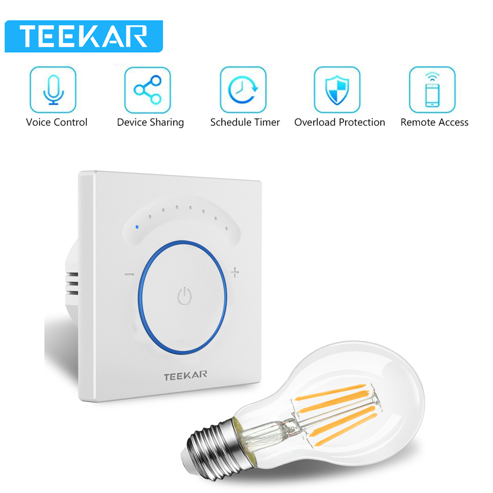 TEEKAR EU Standard Smart Dimmer Switch 1Gang Work With Amazon Alexa Google Home Timing Function APP Control Light Switch W/ Bulb