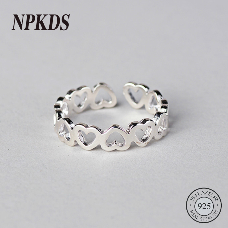NPKDS Luxury Korean Fashion Adjustable 925 Heart Rings For Women Sterling Silver Jewelry Trendy Girls Antique Ring Anillos