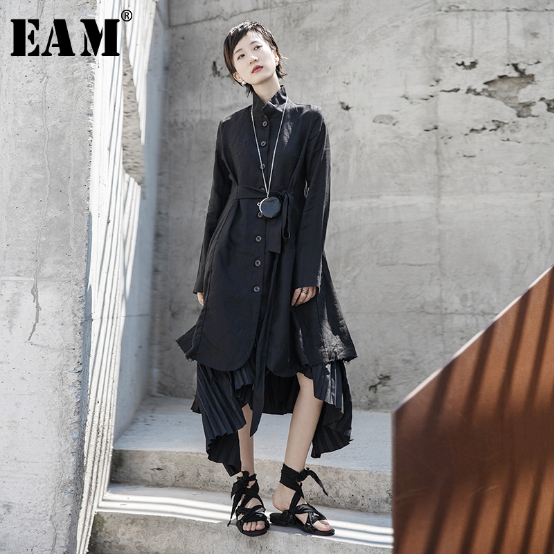 [EAM] Women Black Asymmetrical Split Joint Trench New Stand Collar Long Sleeve Loose Fit Windbreaker Fashion Spring 2020 1R597