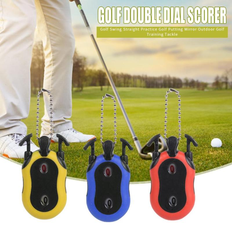 Dual Dial Square Scorer Tally With Keychain Fashionable Golf Stroke Shot Putt Score Counter Necessary Outdoor Golf Gadgets