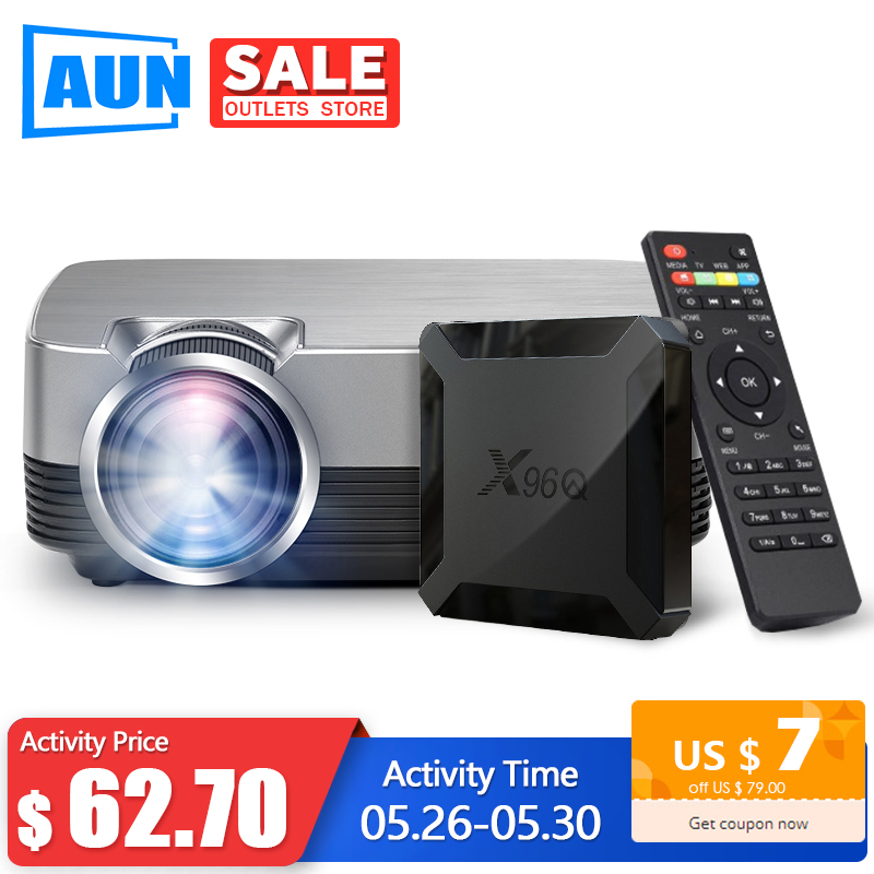 AUN MINI Projector Q6s/Q6, 1280x720P/800x480p Video Beamer. Portable 3D Video Cinema Support 1080P (Optional Android 10 OS Set)