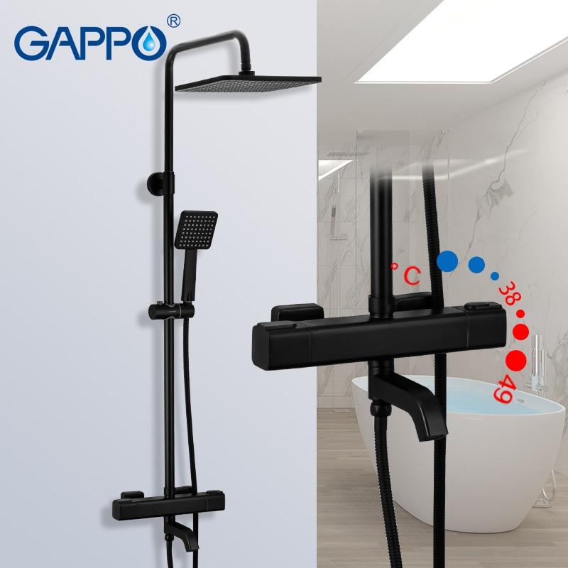 Shower-Faucets Tap-Rainfall Bathroom-Mixer GAPPO G2491-6 Black