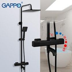 GAPPO G2491-6, черные смесители для душа, термостатический смеситель для ванной комнаты, смеситель для душа, смеситель для душа, термостат, водопр...