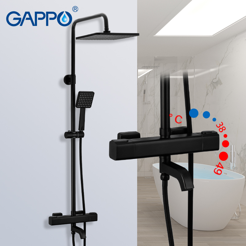 GAPPO G2491-6 Black Shower Faucets Thermostatic Water For Bathroom Mixer Waterfall Faucet Shower Thermostat Tap Rainfall Shoower