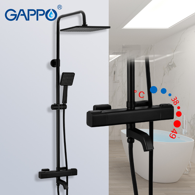 GAPPO G2491 6 black shower faucets thermostatic water for bathroom mixer waterfall faucet shower thermostat tap rainfall shoower