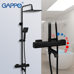 Grifos de ducha GAPPO G2491-6 de color negro, agua termostática para Mezclador de Baño grifo de cascada, termostato de ducha, grifo de lluvia