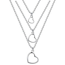 1 Pcs Exquisite Three-layer Heart Pendant Necklace Silver Plated Thin Chain Metal Hollow Choker for Women Fashion Jewelry Casual(China)