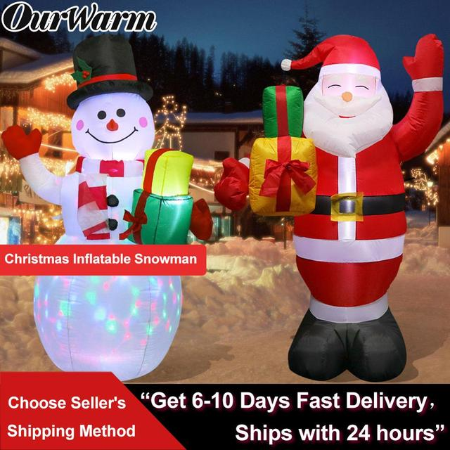 OurWarm Inflatable Santa Claus Night Light Figure Outdoor Garden Toys Christmas Party Decorations New Year 2019 150cm US EU Plug