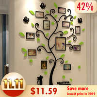 Acrylic 3D Family Photo Frame Tree Wall Stickers Removable DIY Art Wall Poster Decals For Living Room Bedroom Home Decoration