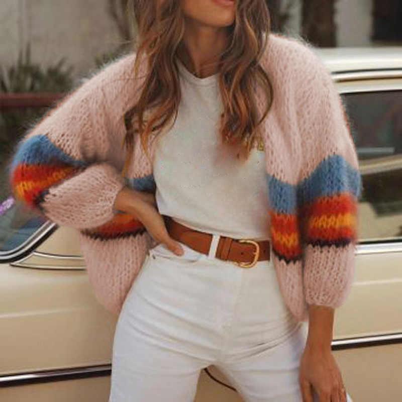 Женский свитер с длинными рукавами, разноцветное пальто, трикотаж, милые Короткие повседневные осенне-зимние свободные теплые джемперы с открытым стежком, женские топы