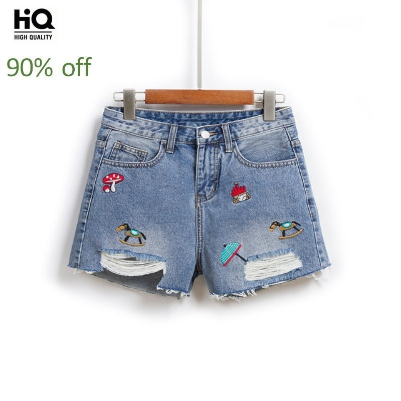 Womens Summer Hot Pants Sweet Casual Denim Shorts Girls High Waist College Slim Fit Tassel Embroidery Hole Ripped Short Jeans