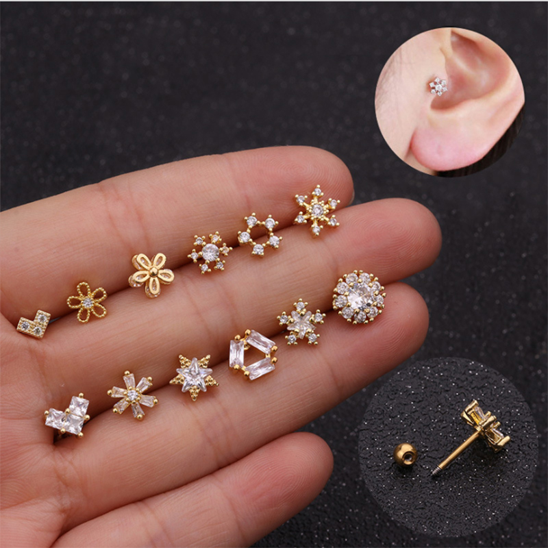 2020 1Piece Gold And Silver Color Cz Cartilage Moon Star Flower Crown Helix Piercing Jewelry Tragus Stud Conch Earring