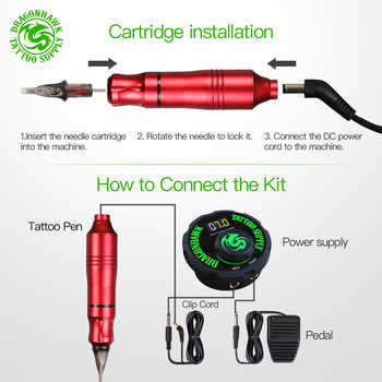 Tattoo Rotary Machine Pen Style Set Tattoo Kit LCD Power Pedal Tattoo Supply Free Delivery Permanent Makeup Machine Assortment