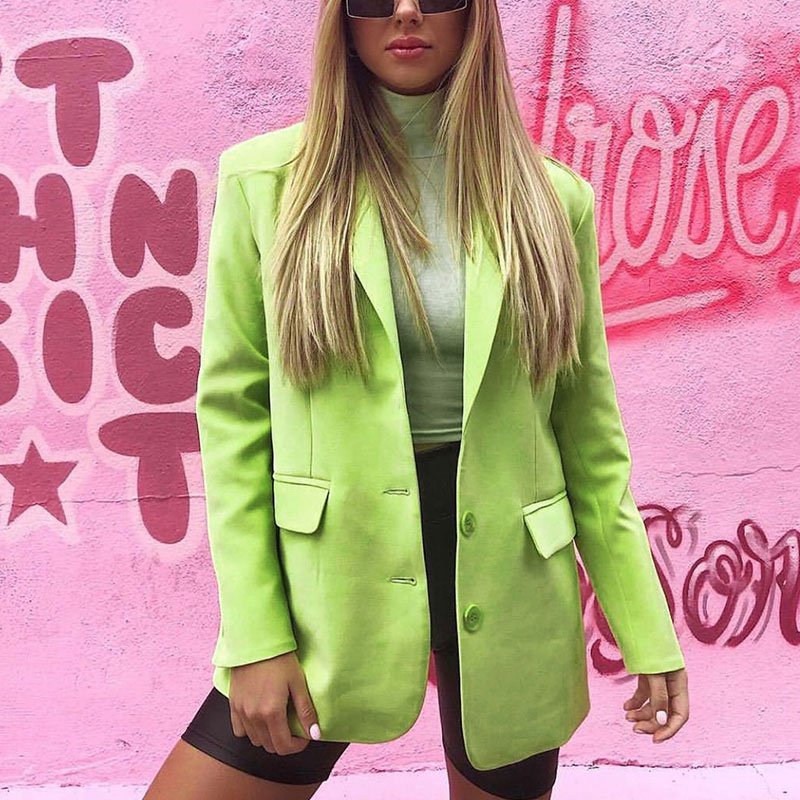 Casual Loose Ladies Blazer Stylish Solid Green Suit Jacket Simple Long Sleeve High Street Spring Autumn Women Jacket MM60NXZ