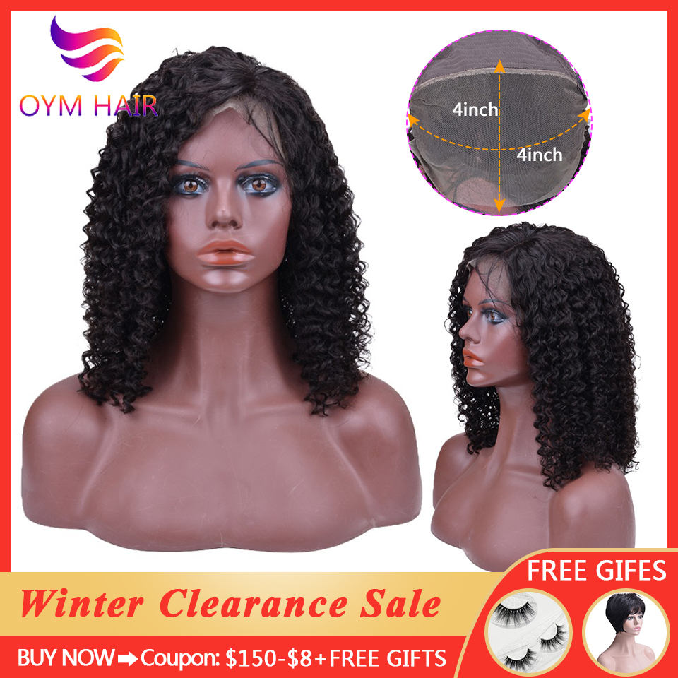 OYM HAIR 4x4 Curly Lace Closure Human Hair Wigs With Baby Hair Indian Remy Hair Short Curly Bob Wigs 150% Density Lace Wigs